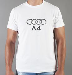 Футболка с принтом Ауди A4 (Audi A4) белая 0059