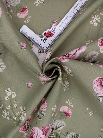 Ткань duck с тефлоновой пропиткой парковая роза на зеленом