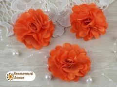 Цветы атласные с фатином оранжевые диаметр 5 см