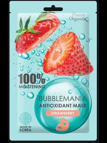 Funny Organix BubbleMania Кислородная тканевая маска-антиоксидант Сочная клубника  25г