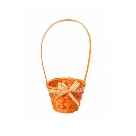 Корзина плетеная (бамбук), D13х9хH30см, оранжевый