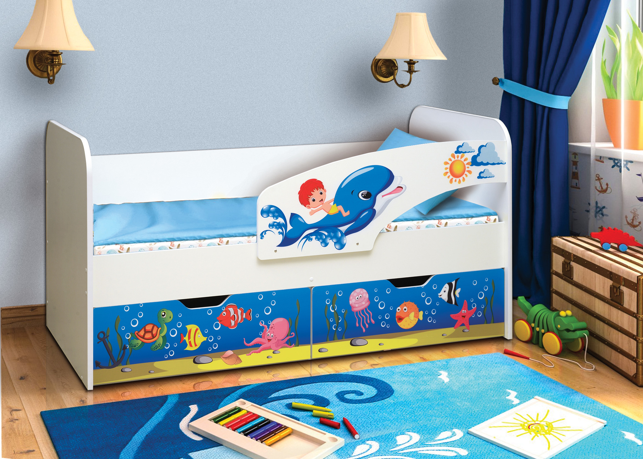 Кровать детская с фотопечатью Дельфин