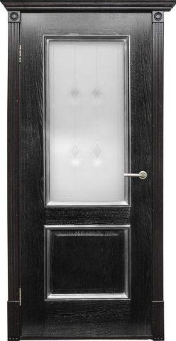 Дверь Халес Триест (черный с серебром, остекленная, массив хвойных пород)