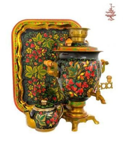 Самовар электрический «Хохломские традиции» формой желудь 3л в наборе с подносом и чайником