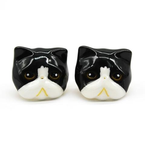 Серьги Персидская Кошка (черно-белая)