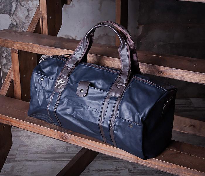 BAG408-3 Вместительная мужская сумка из кожи синего цвета фото 02