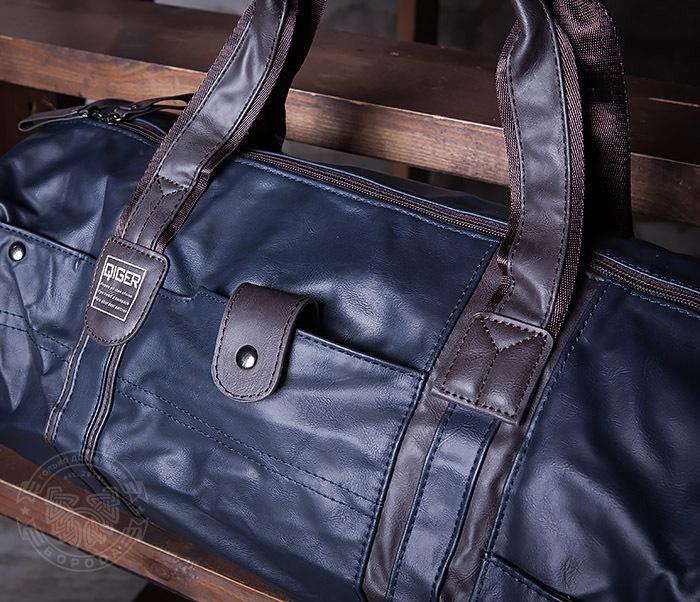 BAG408-3 Вместительная мужская сумка из кожи синего цвета фото 03