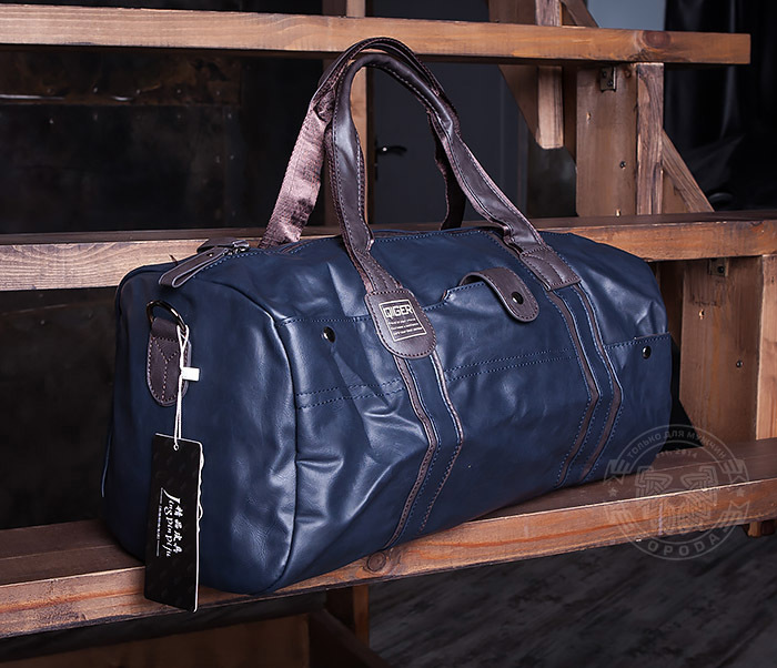 BAG408-3 Вместительная мужская сумка из кожи синего цвета фото 04