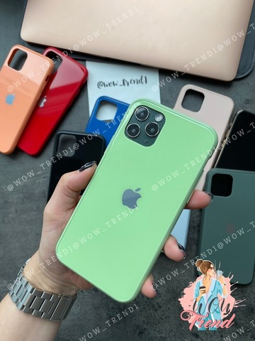 Чехол iPhone 11 Pro Glass Pastel color Logo /mint/