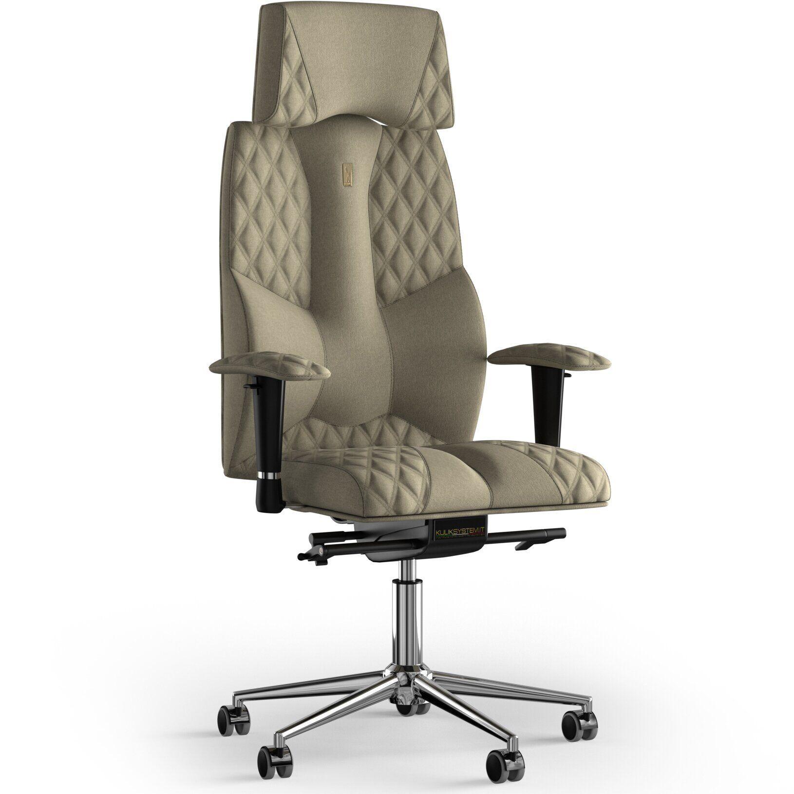 Кресло KULIK SYSTEM BUSINESS Ткань с подголовником со строчкой