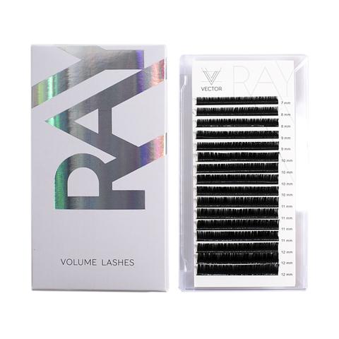 VLR-012 Микс ресниц для наращивания. VECTOR RAY Volume Lashes. Изгиб B. Толщина 0,10 мм. Длина 7-12