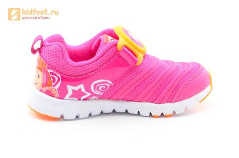 Светящиеся кроссовки для девочек Фиксики на липучках, цвет фуксия, мигает пряжка на липучке. Изображение 4 из 16.