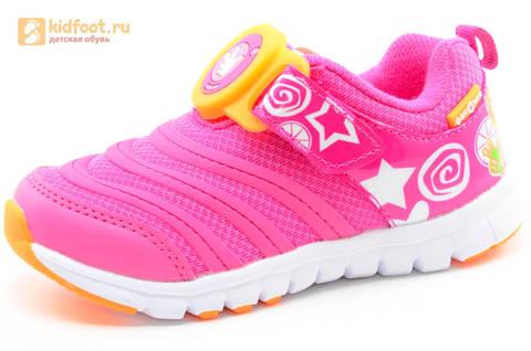 Светящиеся кроссовки для девочек Фиксики на липучках, цвет фуксия, мигает пряжка на липучке. Изображение 1 из 16.