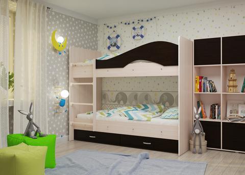 Двухъярусная кровать Майя млечный дуб / венге