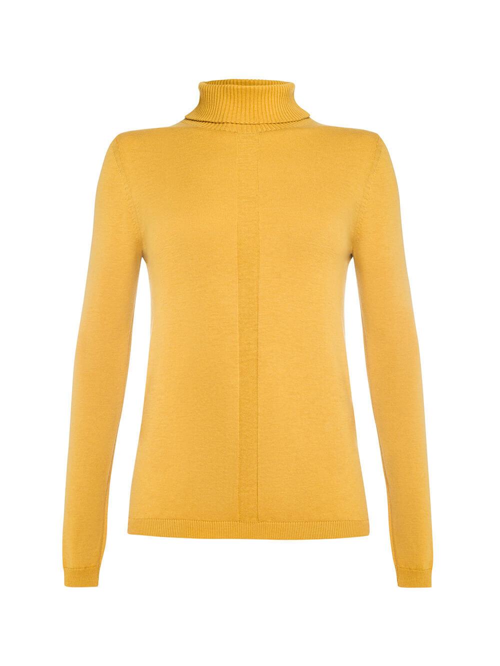 Женский джемпер желтого цвета из шерсти и шелка - фото 1
