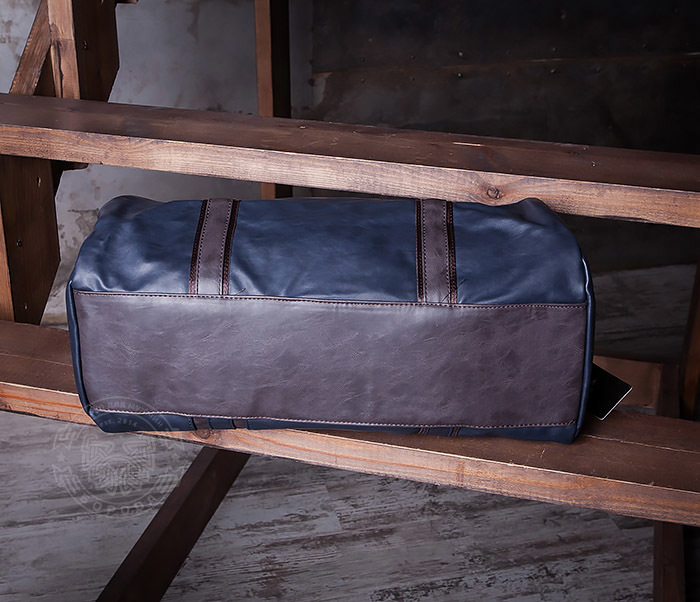 BAG408-3 Вместительная мужская сумка из кожи синего цвета фото 07