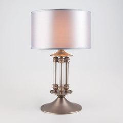 Классическая настольная лампа с абажуром 01045/1 сатин-никель
