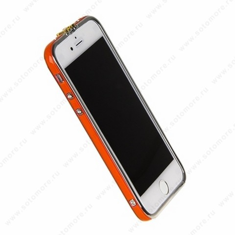 Бампер Heimeiren металический для iPhone 6s/ 6 оранжевый каемка серебро