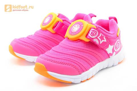 Светящиеся кроссовки для девочек Фиксики на липучках, цвет фуксия, мигает пряжка на липучке. Изображение 6 из 16.