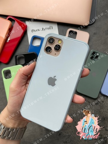 Чехол iPhone 11 Pro Glass Pastel color Logo /mist blue/