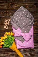 Конверт-плед 100х80см Розово-серый