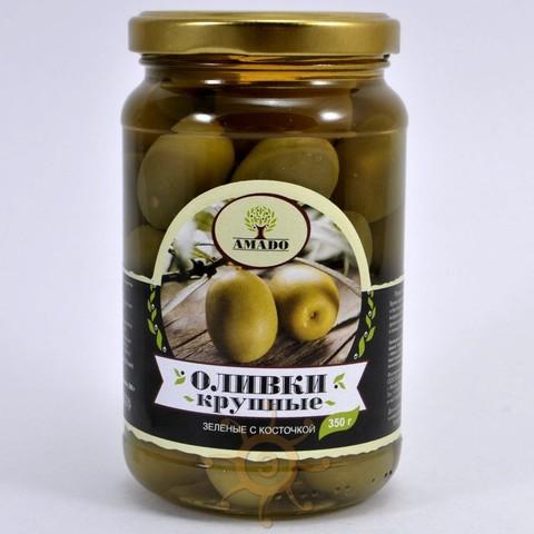 Оливки крупные с косточкой в ст/б Amado, 350г