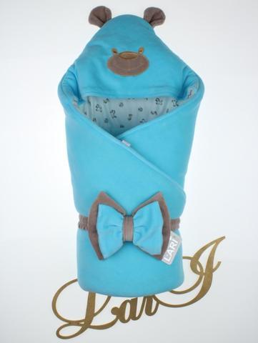Велюровый конверт Одеяло Панда (бирюзовый)