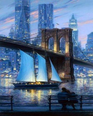 Картина раскраска по номерам 40x50 Влюбленные любуются городом