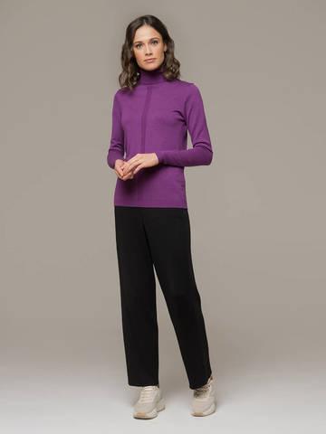 Женский джемпер лилового цвета из шерсти и шелка - фото 5