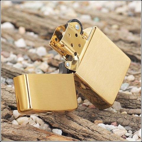 Зажигалка ZIPPO 204B Brushed Brass Золотая