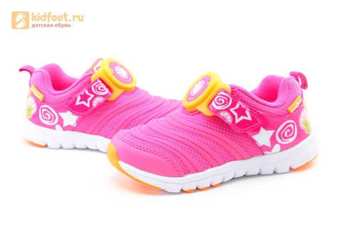 Светящиеся кроссовки для девочек Фиксики на липучках, цвет фуксия, мигает пряжка на липучке. Изображение 10 из 16.