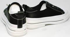 Модные спортивные туфли натуральная кожа на низком каблуке El Passo sy9002-2 Sport Black-White.