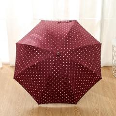 Женский облегченный зонт-трость, с защитой от УФ, ветрозащитный, 8 спиц, в стиле ретро, мелкий горох (бордовый)