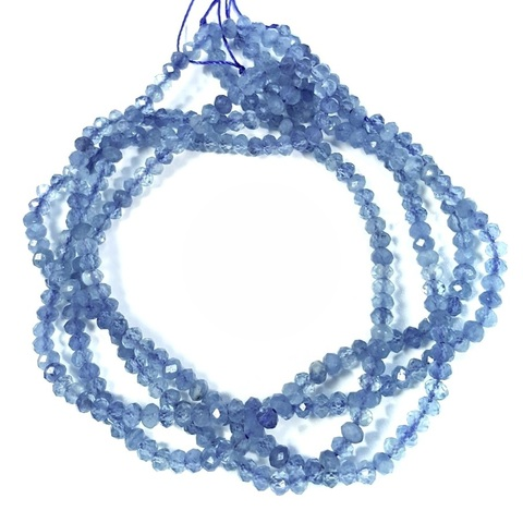 Бусины аквамарин А рондель граненый 3,3х2,2 мм нить 19 см
