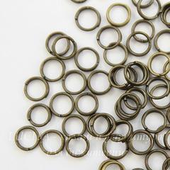 Комплект двойных колечек 5х1,2 мм (цвет - античная бронза), примерно 100 шт