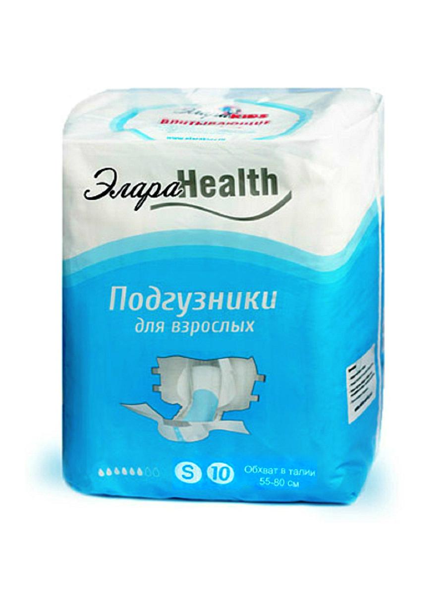Подгузники для взрослых ЭлараHEALTH размер S (55-80 см), 10 шт.