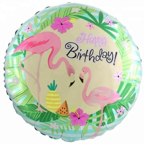 Шар круг С днем рождения, фламинго, 45 см