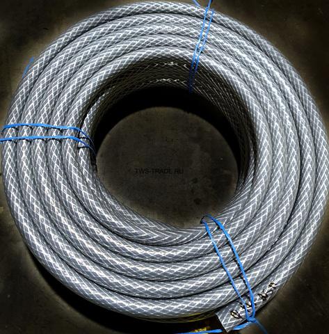 Шланг Ø 18мм армированный серый толщина стенки 4 мм (50 м в бухте)