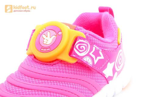 Светящиеся кроссовки для девочек Фиксики на липучках, цвет фуксия, мигает пряжка на липучке. Изображение 12 из 16.