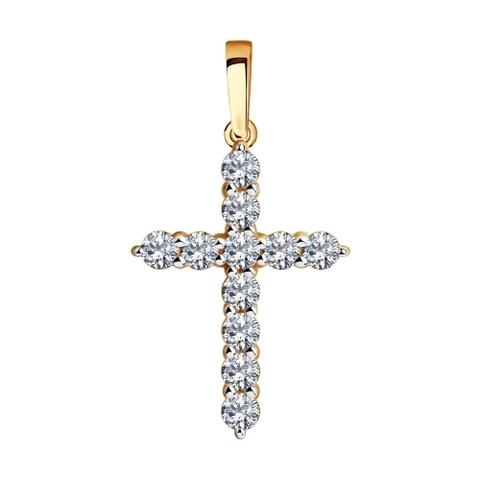 035844 - Подвеска крестик из золота с фианитами