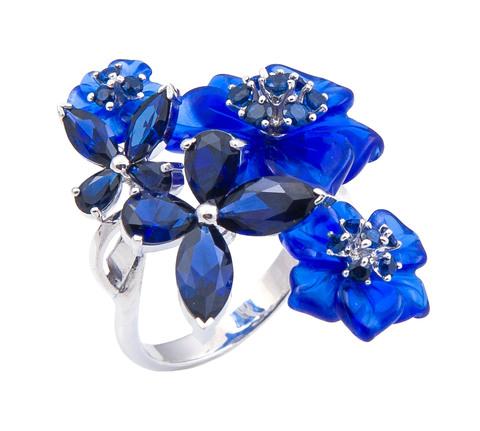Кольцо с цветами из кварца и сапфиром Арт. 1177сс