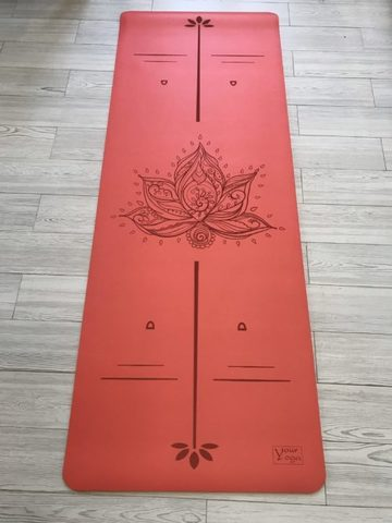 Каучуковый коврик для йоги Lotus YY с разметкой 183*65*0,2-0,4 см