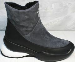 Зимние женские ботинки без шнурков Jina 7195 Leather Black-Gray