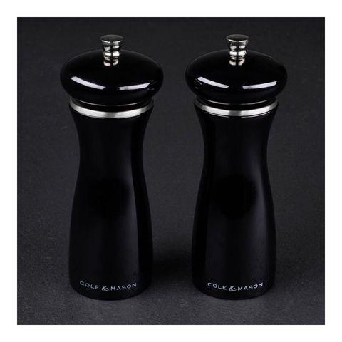 Набор мельниц для перца и соли Sherwood Black Gloss 165 мм, 2 шт.