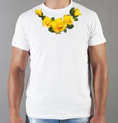 Футболка с принтом Цветы (Розы) белая 0032