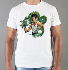 Футболка с принтом Брюс Ли (Bruce Lee) белая 008