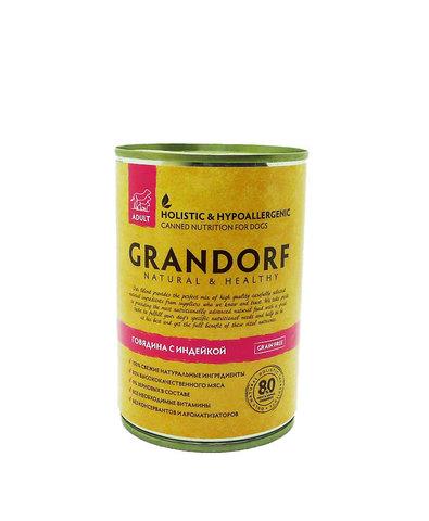 Grandorf Dog консервы для собак (говядина с индейкой) 400г