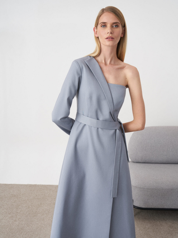 Платье длинное Lydia на одно плечо, Серо-голубой