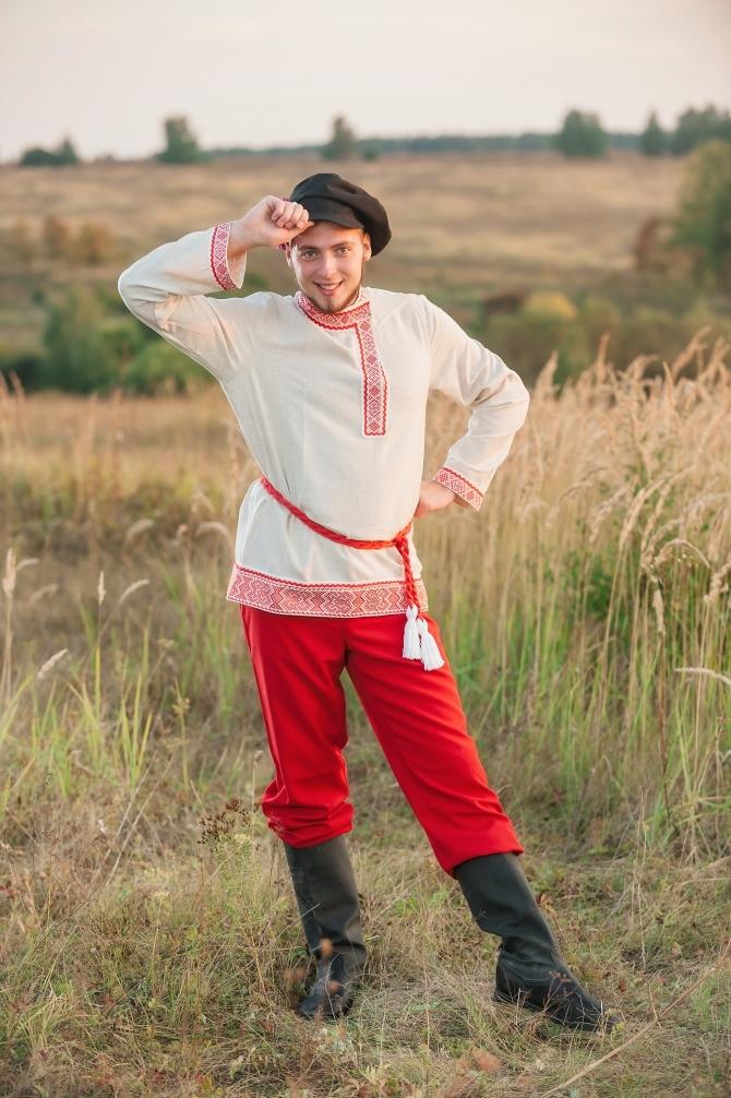 Мужской русский костюм Раздолье с поясом