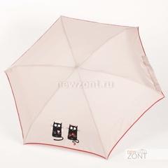Плоский бежевый мини зонт NEX с влюбленными кошкой и котом